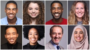 First Home - Rectangular grid with 8 square images, 4 people on top and four people on bottom of various multicultural ethnicities. Male and Female