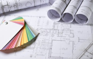 Home Ownership - Color choice palette, on top of white blueprints and architectural plans